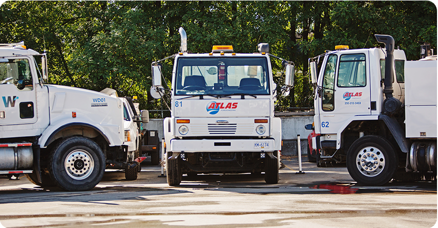 Atlas Power Sweeping's fleet of power sweeping trucks